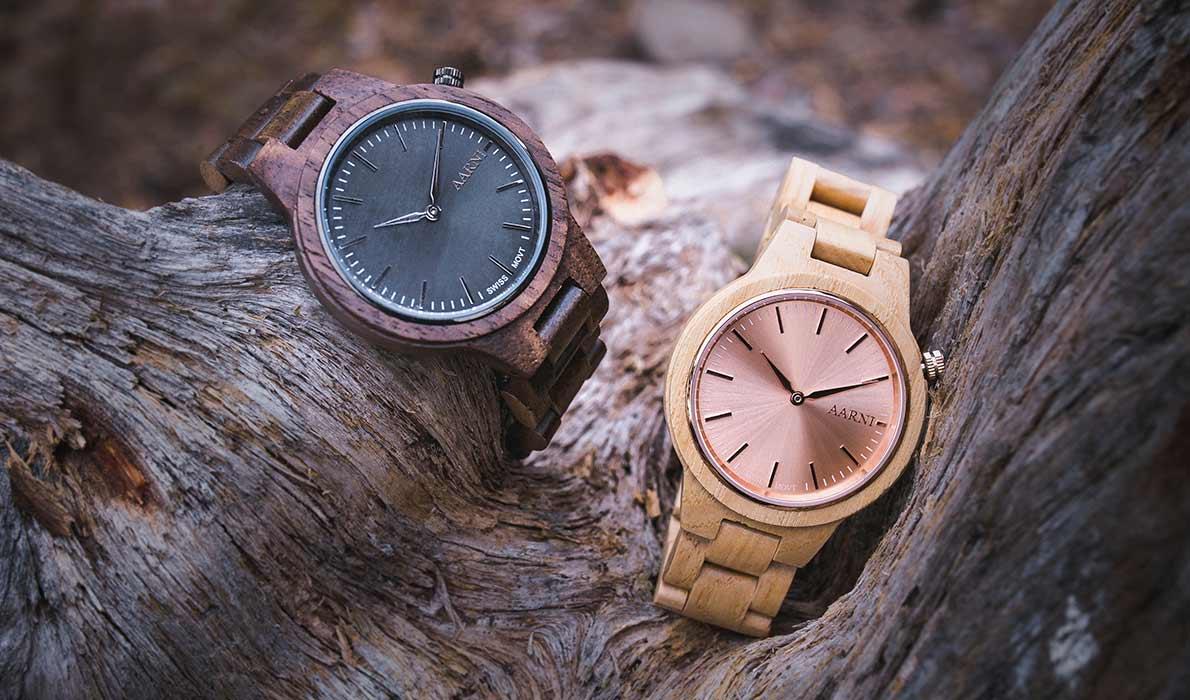 Aarni puiset kellot - Wood Watches - Trä Klockor
