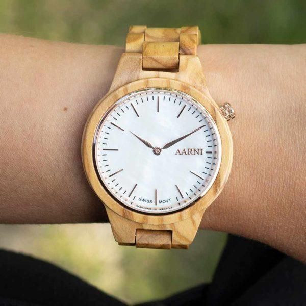 Vega Olive Watch on wrist